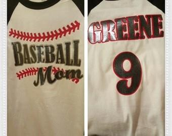 Baseball Mom- handmade baseball shirt