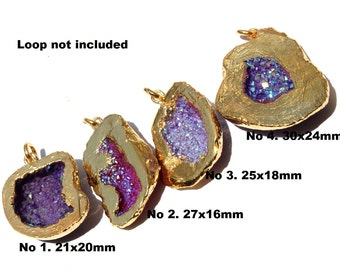 1 Pc 24Kt Gold Electroplated Purple Druzy Agate Geode Pendant 21-30 mm Druzy Single Bail Cave Pendant EPC23  You Select