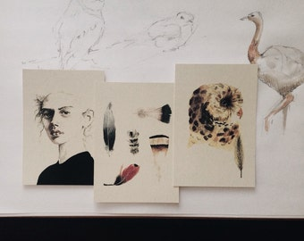 Set of 3 postcards, watercolor, owl/feathers/woman