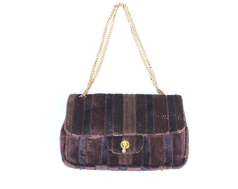 1960s Delicato by Markay Double Chain Vintage Brown Purse