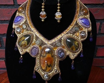 """Bead and gem embroidered jewelry necklace and earrings set, """"La Reine"""", hand made simbircite and charoite necklace."""