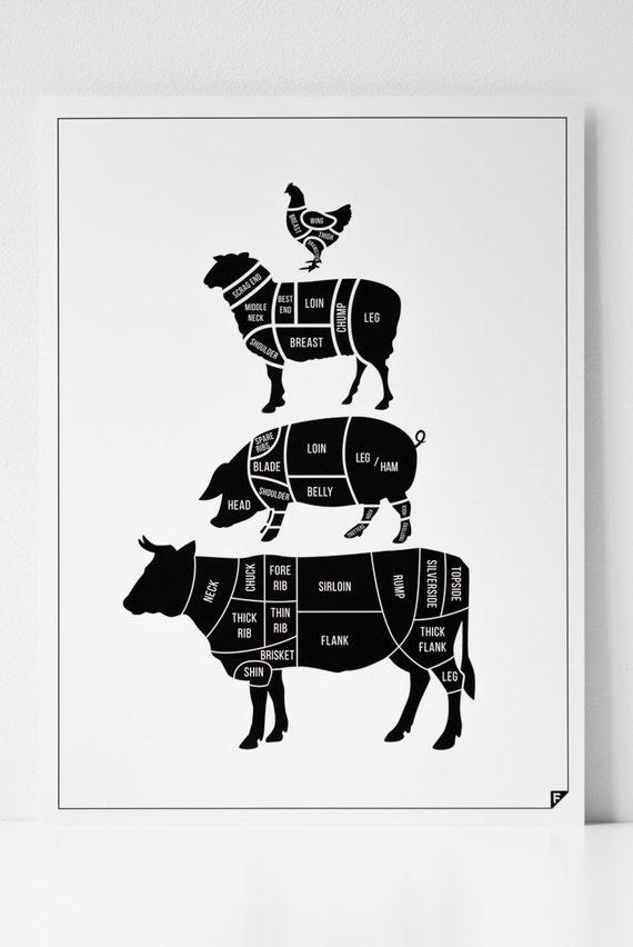 Vlees bezuinigingen keuken print scandinavisch door follygraph