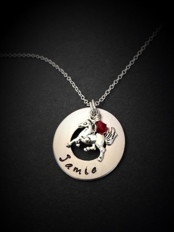 Hand stamped horse necklace personalized by for How do you make hand stamped jewelry
