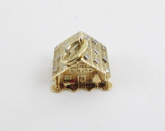 Vintage 18K Yellow Gold 3D Lovers House Home Cabin Charm Pendant opens up