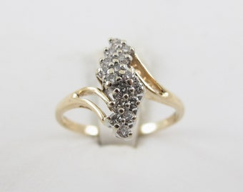 14k Yellow Gold Bypass Style Ladies Diamond Band Ring Size 6 1/2