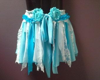 GIRLS BLUE TUTU skirt, winter tutu, tattered pixie tutu, fairy tutu, blue white tutu, lace tulle, dance costume, 2 3 4 year old, photo shoot