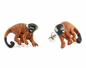 "Hand Carved - ""Spider Monkey"" - Sabo Wood with Ebony Wood and Bone Inlay Stud Earring - Rainforest"