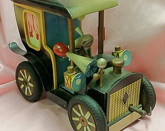 1940's Steinbach Germany Western Zone Thorens Movement Musical Wooden Car Bank