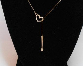 14K Gold Diamond Necklace, 14k Gold Diamond Solitaire Necklace, 14k Gold and Diamond Lariat Necklace, Diamond Heart Necklace, 14k Y Necklace