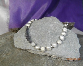 Natural Rough Black DIAMOND Nuggets (5cts) with Freshwater Pearls Bracelet with Silver Lobster Clasp, Black Diamond Nuggets,
