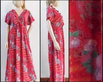 Red floral midi smock dress French vintage pretty red floaty midi maternity smock dress size S/M