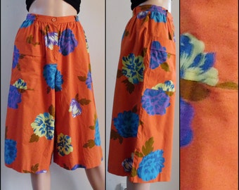 Vintage orange blue culottes divided skirt orange blue cotton loose culottes 25 inch waist small