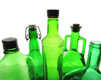 Instant Collection Vintage Green Glass Bottles #D01