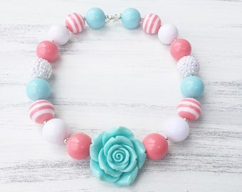Coral and Blue Bubblegum Necklace - Coral Bubblegum Necklace - Girl Toddler Necklace - Girl Flower Necklace - Baby Photo Prop - 1st Birthday