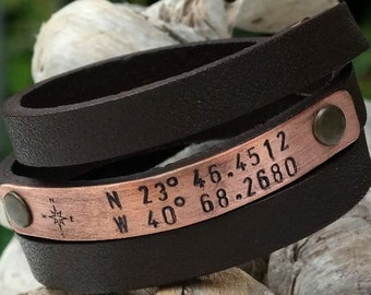 FREE SHIPPING. Custom Coordinates- Boyfriend gift- Mens Personalized Leather Bracelet- Mens Leather Bracelet- Latitude Longitude Bracelet
