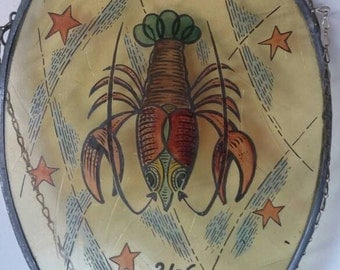 Vintage painted glass zodiac sign