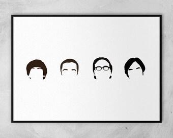The Big Bang Theory | Jim Parsons | Johnny Galecki | Kunal Nayyar | Simon Helberg | Minimal Artwork Poster