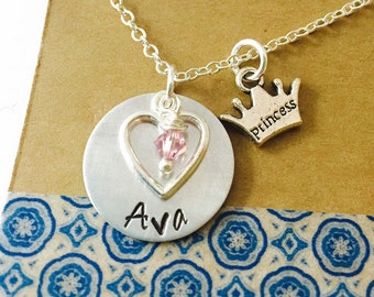 Princess Necklace, Name Necklace, Princess Crown Necklace, Little Girl Necklace, Swarovski Crystal Birthstone, Birthday Gift