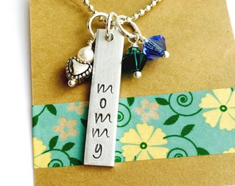 Mommy Necklace, Birthstone Personalized Necklace, Mother Gift, Hand Stamped Necklace