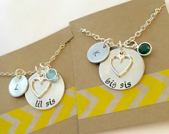 Big Sister Necklace, Little Sister Necklace, Personalized Necklace Set, Sister Necklace Set, Matching Necklaces
