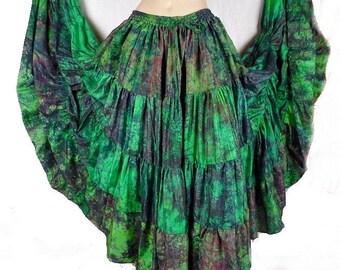 SKIRT long silk green Andalusian gypsy flamenco Spanish Gypsy maxi skirt ajf22