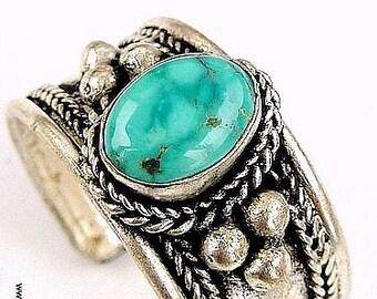 JEWEL ring Tibetan turquoise zen meditation chakra coronal Buddhism ref 3613