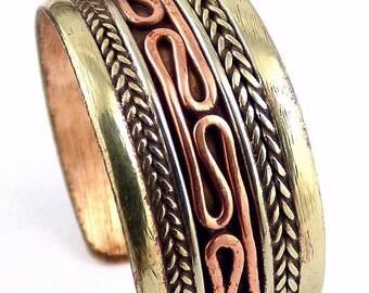 JEWEL ring Tibetan chiseled metal copper Buddhism zen meditation t 59/65 ++ bt50