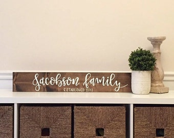 Last Name Sign, Family Name Sign, Home Decor, Established Date, Name Sign, Rustic Sign, Personalized Sign, Wood Name Sign, Wedding Gift