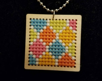 Cross Stitched Square Necklace