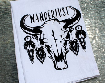 WANDERLUST - Tribal Bull Skull and Feather Cotton Kitchen Towel - Screenprinted Tea Towel