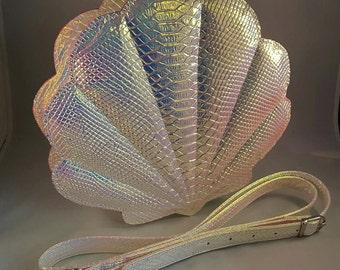 Iridescent Clamshell Mermaid Cross Body Bag