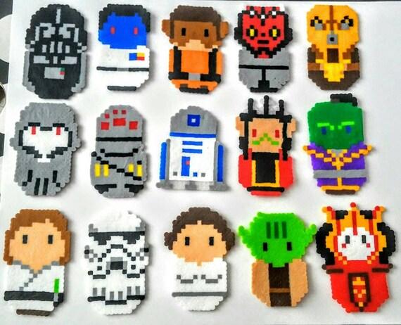 Chibi Star Wars Sprites, Keychain or Magnet Collectible (pixel art, perler art, 8bit, sprites)