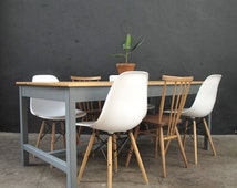 Vintage Industrial Reclaimed Refectory Dining Table. Seats 6-8. Farrow & Ball paint. IN STOCK
