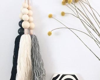 SET OF 3 Giant Tassel Drops on Leather Scandi Boho Hanging Wall Hanging Nursery Decor Baby Shower