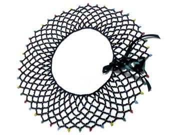 """Black """"Nyavu"""" Necklace (with a dash of color)"""