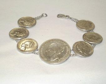 1930's Silver Bracelet Made of Netherlands Coins