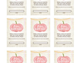 PRINTABLE Pink Pumpkin Diaper Raffle Cards for Baby Showers