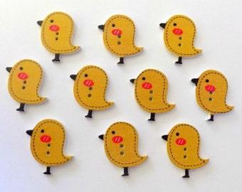 10  Wooden Yellow  Bird Buttons - Bird Buttons - Yellow  Bird - Sewing Buttons  -  #SB-00120