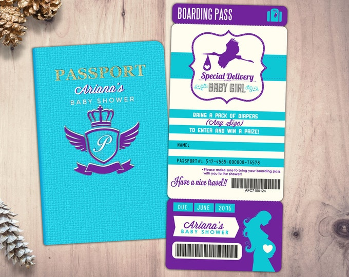 PASSPORT and TICKET baby shower invitation! Coed baby shower invitation- travel baby shower invitation,baby shower, Digital files only