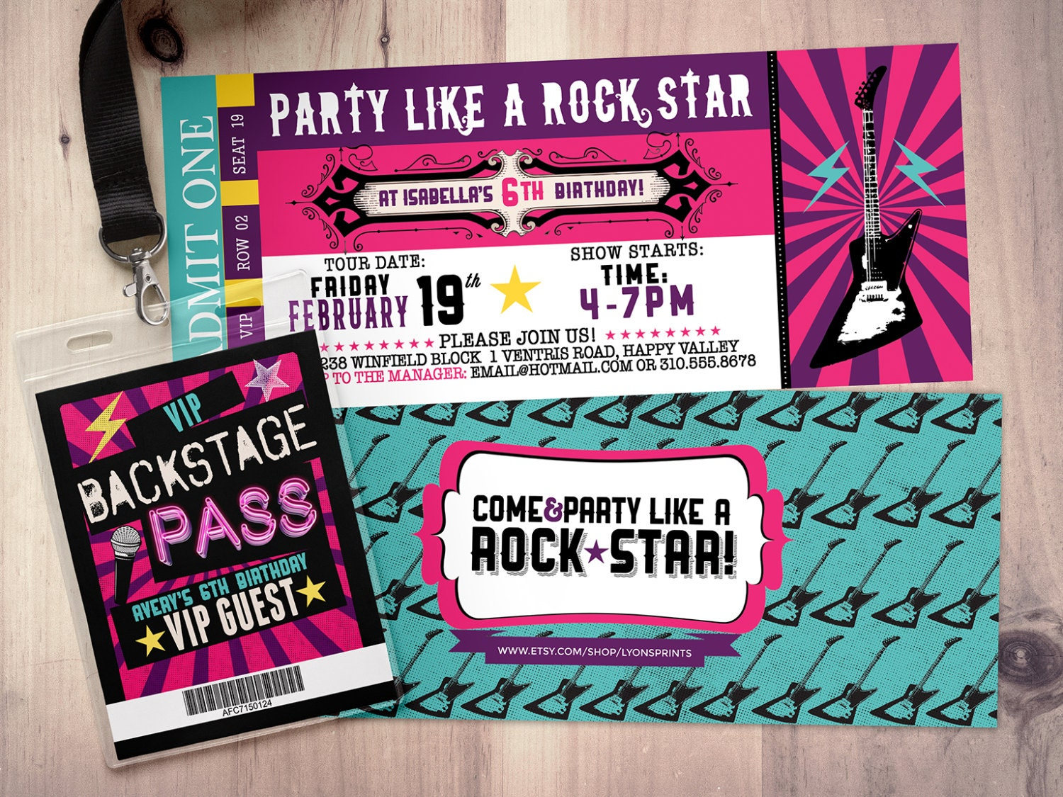 ROCK STAR Concert Ticket Birthday Party Invitation  Music Invitation   Printable, Rockstar Party, Pop Star, Karaoke Party, Hip Hop, Invite  Concert Ticket Invitations Template