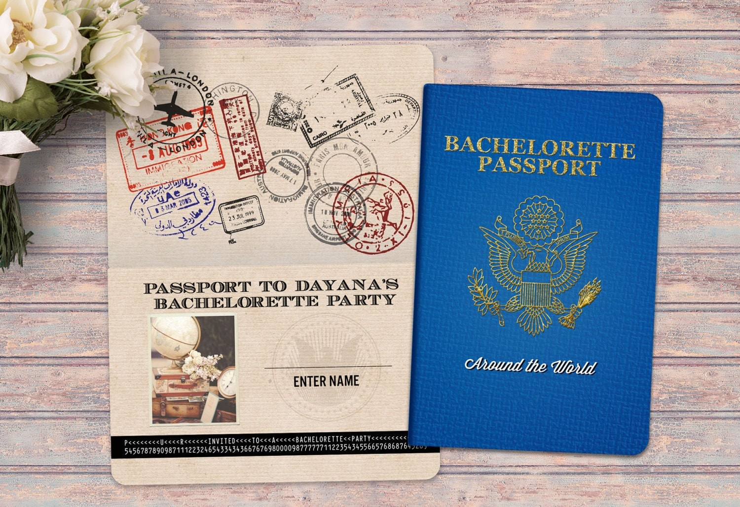 PASSPORT and TICKET bachelorette party birthday invitation – Customizable Bachelorette Party Invitations
