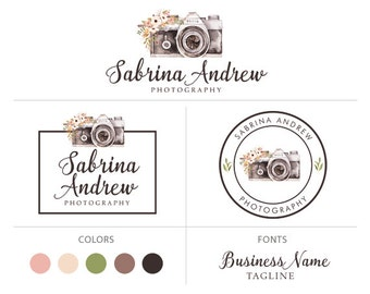 Premade logo package photography logo camera logo boho flowers logo branding package floral logo