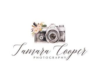 Camera logo watercolor logo graphic design premade logo design flowers logo photography logo