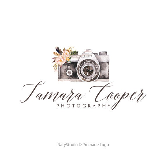 camera logo watercolor logo graphic design premade logo design