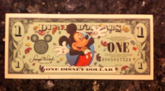Mickey Mouse Disney Dollars One Dollar Bill A By
