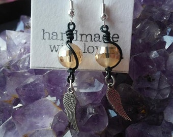 Peach and black wire earrings