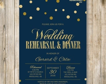 Navy Blue and Gold WEDDING REHEARSAL DINNER Invitation, Gold Glitters Rehearsal Dinner Invite, Digital Nautical Engagement Party Printables