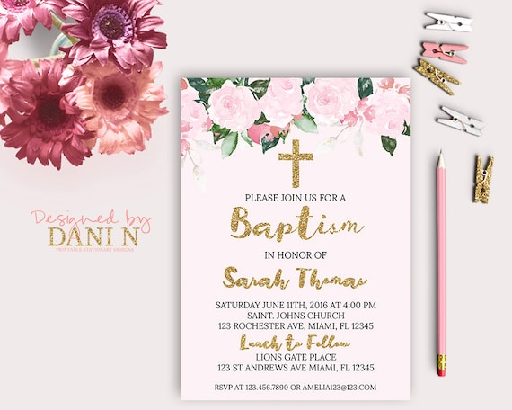 Pink roses baptism invitation pink floral baptism catholic il570xn stopboris Image collections