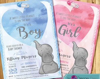 Baby Elephant Baby Shower invitation / It's a Boy /  It's a Girl / Baby Shower invitation for Boy or Girl/ Printable Digital  #B1031 (5x7)