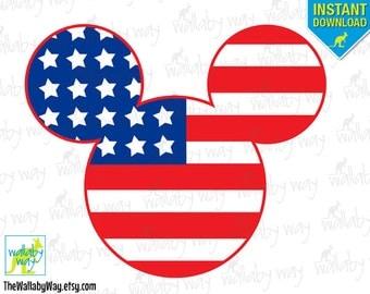 Patriotic Mickey American Flag Printable Iron On Transfer or Use as Clip Art, DIY Disney Shirt, America, Mickey Head, 4th of July, Stars